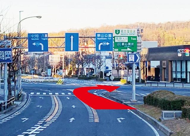 植田一本松の交差点を右折して下さい。