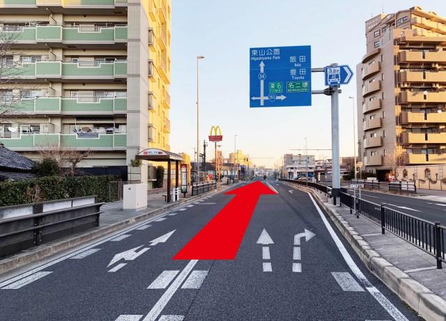 植田一本松交差点を高針方面に直進して下さい。